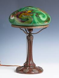 Antique Handel Desk Lamp Handel Table Lamp With Reverse Painted Dragon Cottone Auctions