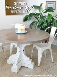 diy round kitchen table farmhouse style round pedestal table her tool belt