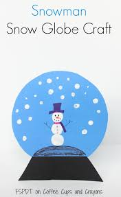 snowman snow globe craft coffee cups and crayons