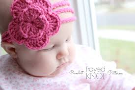 crochet baby headband i m frayed knot 3 strand flower headband