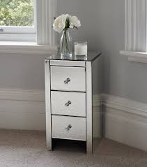 Venetian White Glass Bedroom Furniture Venetian Mirrored Glass Bedside Table With 3 Drawers And Glass