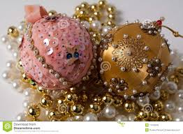 handmade pink and gold tree ornaments stock image image