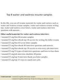 waitress interview tips sample resume waiter sumptuous design inspiration food service