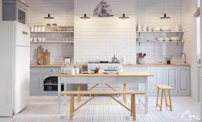 design scandinavian kitchen light wood white simple round