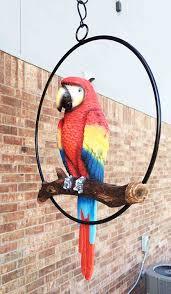 amazon com patio home u0026 garden hanging scarlet macaw parrot