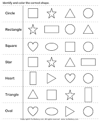 kindergarten shapes worksheets matching shapes to pictures