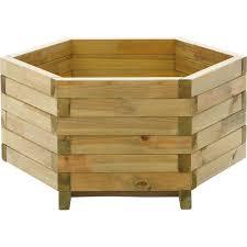 hexagonal wooden garden trough planter at homebase co uk
