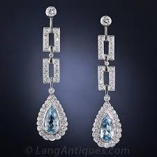 aquamarine drop earrings estate aquamarine and diamond drop earrings
