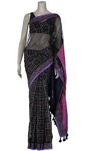 arong saree black and blue appliquéd and embroidered half silk jamdani saree