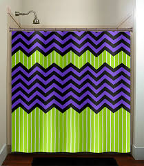 lime green stripe purple zig zag chevron shower curtain bathroom decor fabric kids bath window curtains panels valance bathmat