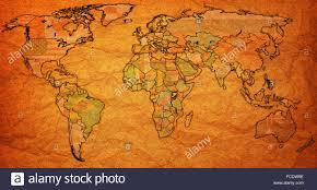 World Map With Flags Uganda Flag On Old Vintage World Map With National Borders Stock