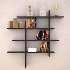interior grey modern stained solid wood cubed wall bookcase tall