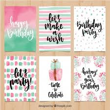 pretty watercolor birthday greetings set vector free
