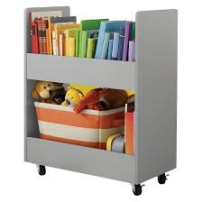 Toybox With Bookshelf Rolling Toy Storage Cart With Paper Veneer Gray Circo Target