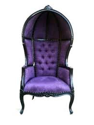 vintage channel chair with purple and charcoal velvet by element20