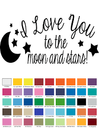 Love And Stars Quotes by I Love You To The Moon And Back And Stars Vinyl Wall Quote
