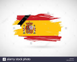 Spainish Flag In Memory Spanish Flag Spain Ink Flag Over White Stock Photo