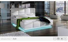 Platform Bed With Lights Amazon Com Go Asti White Modern Platform Bed Queen Size With