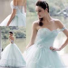 Wedding Dresses Light Blue Light Blue Off One Shoulder Wedding Dresses 2017 Lace Applique