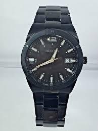 bulova bracelet images Men 39 s bulova 98b234 black stainless steel bracelet black date dial jpg