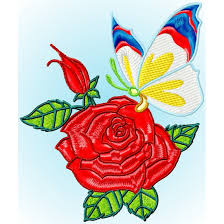 Roses And Butterflies - s embroidery roses and butterflies