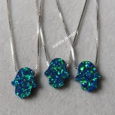 dark blue opal aliexpress com buy 20pcs lot 11x13mm opal hamsa necklace op19