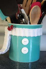 Kitchen Utensil Holder Ideas Diy Snowman Utensil Holder Re Fabbed