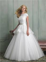 a line high neck cap sleeve lace tulle peplum wedding dress with
