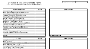 bid estimate template electrical estimate sheet free electrical estimate electrical