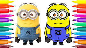 how to draw minion and coloring pages for kids learning coloring