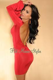 v shape crest bare back full length sleeve dress