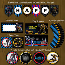 printable transformers birthday banner transformers printable birthday party package bumblebee and