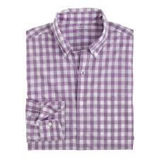 muted purple j crew lightweight secret wash shirt in grape gingham in purple