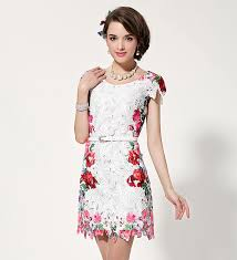 floral dresses women korean refreshing vintage floral printed lace dress