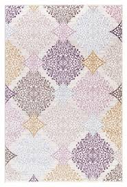 Modern Damask Rug Beige Purple Gold Damask Panal Abstract Modern Contemporary