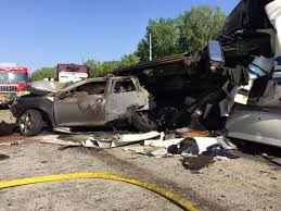 four killed in in three vehicle crash on i 70 saturday