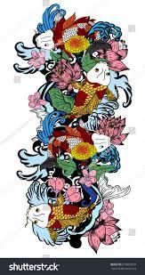 koi carp tattoo images beautiful line art koi carp tattoo stock vector 676683910