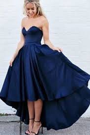 simple sweetheart sleeveless high low navy blue prom dress with pleats