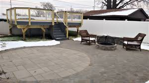 Paver Patios With Fire Pit by Archadeck Of Chicagoland Low Maintenance Deck U0026 Paver Patio With