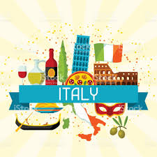 Map Italy Silhouettes Italian Cities by Italy Background Design Italian Symbols And Objects Stock Vector