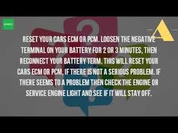 resetting computer battery how do you reset the computer in your car youtube