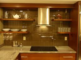 simple white subway tile backsplash with wooden cabinet also