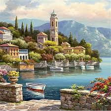 villa by the sea easy diy oil paint by numbers kit on canvas