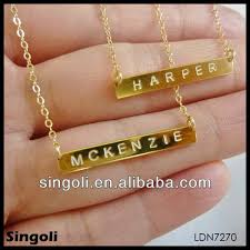 gold plated monogram necklace delicate high quality monogram necklace tiny gold bar necklace