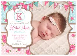 Baptismal Invitation Card Design Shabby Chic Custom Baby Photo Birth Or Baptism Announcement Design
