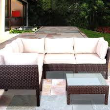 Patio Furniture Sectional Sets - atlantic infinity 5 person resin wicker patio sectional set