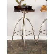 35 in silver metallic iron bar stool with oak brown wooden seat
