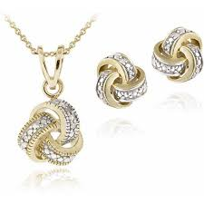 gold diamond love necklace images Diamond accent gold tone love knot necklace and earrings set jpeg
