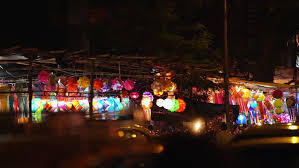 lights on side shop on the occasion of diwali festival