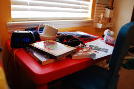 DIY Kids Homework Hideaway Wall Desk   The Organized Mom Always old dishes  TONS of paper for drawing  books  etc etc  It     s not entirely her fault  It     s just a flat table  It never really worked as a tween desk